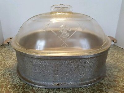 Vintage Guardian Service Aluminum Oval Dutch Oven Roaster w/ Glass Lid