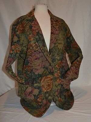 Clairbois Blazer Floral Tapestry Button Jacket Top Sz L Vtg Womens USA Made