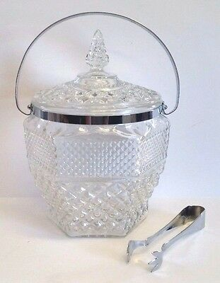 Vintage 1960s Anchor Hocking Wexford Crystal Ice Bucket Wine Cooler, Lid & Tongs