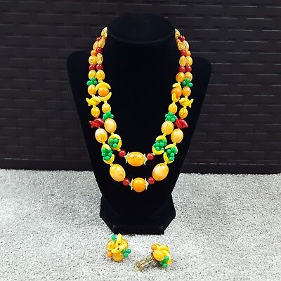 Vintage Jewelry Necklace Signed W Germany Colorful Fruit Salad Plastic Lucite