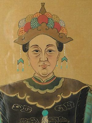 Rare Vintage Chinese Empress Watercolor Hand-painted on Silk Beautifully Framed