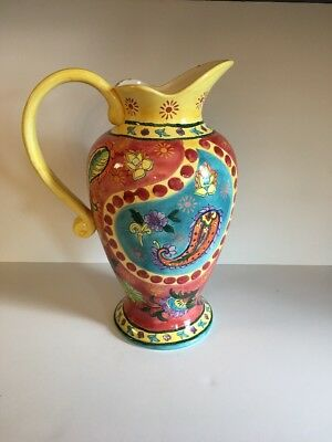 """Paisley Pitcher Vase ~ Red Blue Yellow ~ 16"""" tall"""