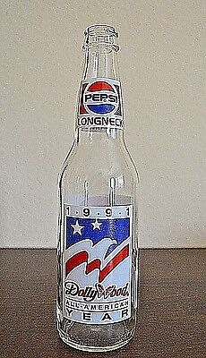 Vintage Pepsi Bottle 1991 Dolly Wood All-American Year Long Neck 12 oz