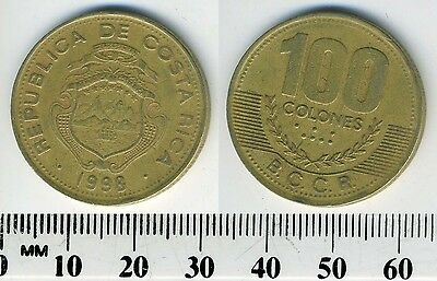 Costa Rica 100 Colones, 1998 - Brass Coin - National arms