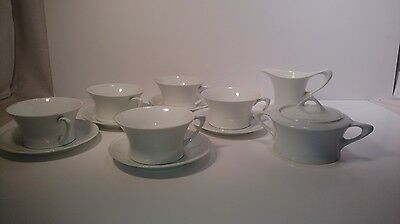 5 cups saucers cream sugar CACILIE  HUTSCHENREUTHER SELB  ALL WHITE BAVARIA