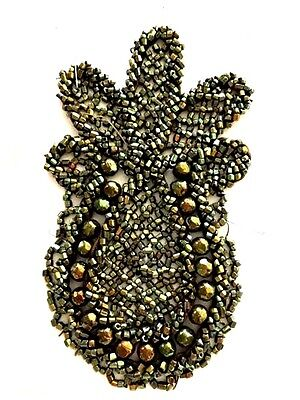 7 Ant French Steel Cut Beaded Appliqué Pieces 1874 in As Is Condition A. Kimball