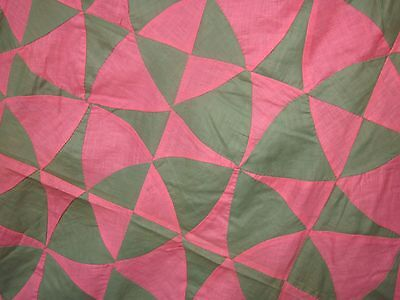 "Splendid ""Four Leaf Clover"" optical illusion antique quilt TOP by hand,SC"