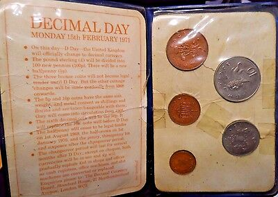 """Circulated Set Of Different 5 Types Of Uk Coins,""""decimal Day 2-15-71"""" (51417)D"""