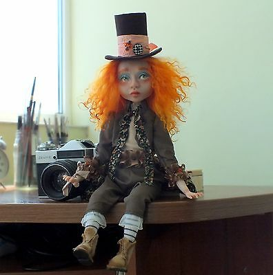 OOAK Art Doll, Hatter, collectible art doll, interior doll, totally hand made