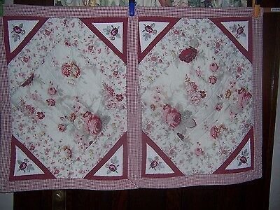 Pair Vintage Pillow Shams Waverly Norfolk Rose Quilted Standard Floral Check