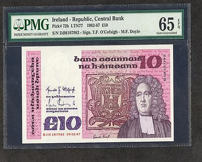 1987 IRELAND REPUBLIC, CENTRAL BANK 10 POUNDS PICK  #72b PMG 65 EPQ LQQK!!!*