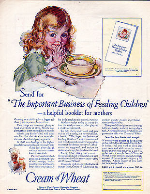 """1925 Cream of Wheat Cereal Ad -""""The Important Business of Feeding Children-[-785"""