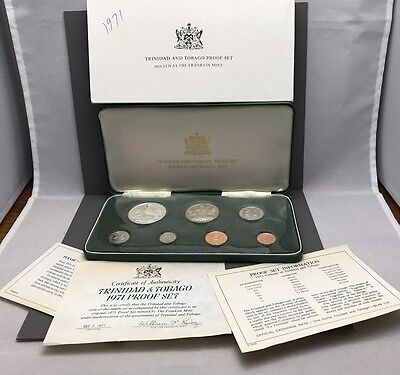 1971Trinidad and Tobago Proof Set 7 coins includes box and COA
