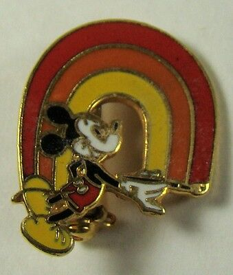 Vintage Mickey Mouse Walt Disney Productions Painting a Rainbow Enameled Pin 1""