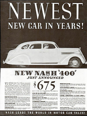 1935 Nash Car Ad --Clutch-Pedal Starting ---z350