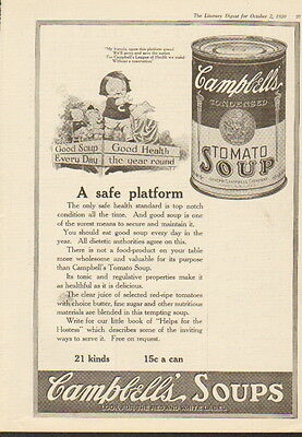 1920 Campbell's Tomato Soup ad --21 Kinds of Soup-/718