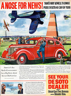 1937 DeSoto Car ad -At the Air Races with Lowell Thomas  --z852