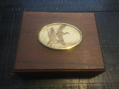 Beautiful Vintage Wood box with Flying Ducks for playing cards or desk?