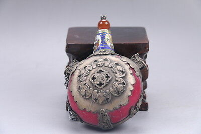 Collectable Chinese Hand Carved Tibetan silver inlay dragon Snuff bottle e110