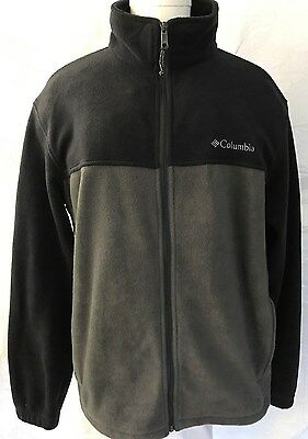 Columbia XL Grey Gray Black Full Zip Long Sleeved Fleece Jacket Men's XL EUC