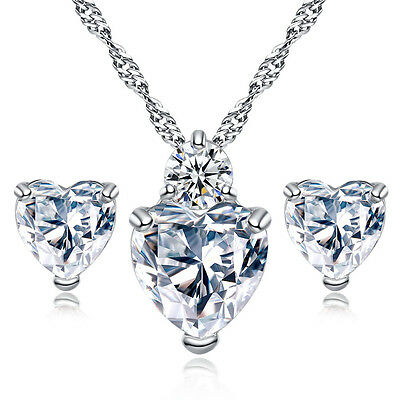 925 Sterling Silver plated heart crystal clear bridal jewellery set wedding A