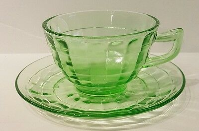 Hocking Depression Green BLOCK OPTIC Pattern Cup & Saucer