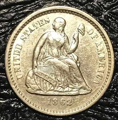 1862 Seated Liberty Half Dime U.S. Mint 90% Silver Coin ABOUT UNCIRCULATED