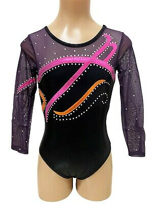 NEW PINK, ORANGE, BLACK SHINY FOIL W/ DIAMANTES CInt 49cm Sz7 Gymnastics Leotard