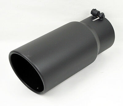 """Stainless Black Rolled Edge Angle Diesel 5"""" Exhaust Tip 4"""" Inlet 12"""" Long 3500"""