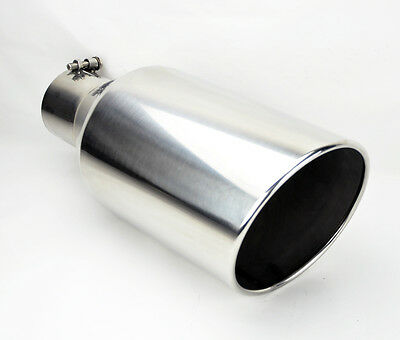 """Stainless Steel Rolled Edge Angle Diesel 8"""" Exhaust Tip 4"""" Inlet 18"""" Long HD"""