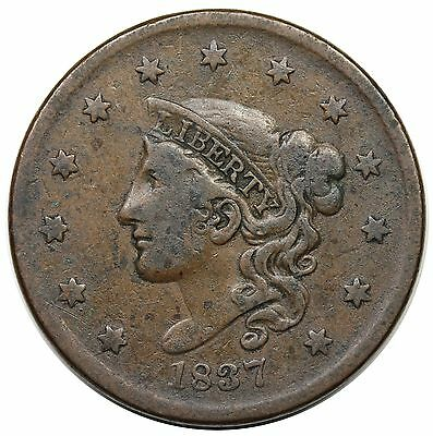 1837 Coronet Head Large Cent, Plain Cords, Medium Letters, N-8/7, VF