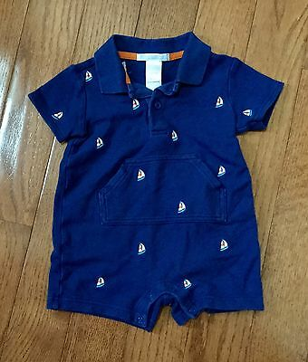 Janie And Jack Boys One Pice Infant 3-6 Months Navy Rompers Sailboat Nautical