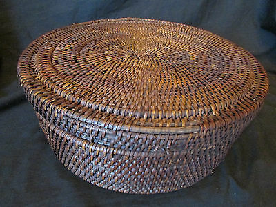 Beautiful Antique Chinese Asian Woven Round Covered Basket