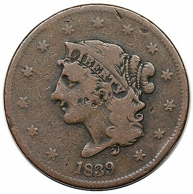 1839 Coronet Head Large Cent, Booby Head, scarce N-12, R.4, MDS, VG-F detail