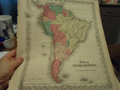 1855 Colton's Big! Map Of South America - In Color!- By Johnson & Browning Nice!