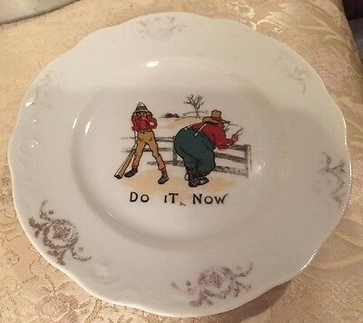 "Antique 1890s DO IT NOW Comedy Cartoon Characters Funny 7"" Plate SYRACUSE CHINA"