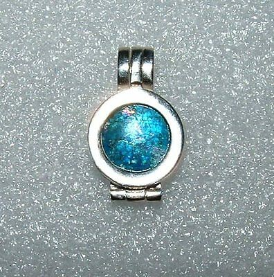 ancient roman glass fragment with very lovely patina pendant..silver stamped 925