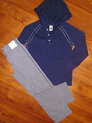 SZ 6 Gymboree 2pc Navy Blue Hoodie Top Gray GYMSTER Pants Outfit New Boy NWT