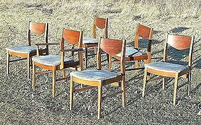 Set Of 6 Mid Century Modern Danish Walnut Dining Chairs-5 Side-1 Armchair