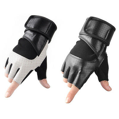 Men's Weight Lifting Gloves Gym Training Leather Glove Training Wrist Wrap Strap