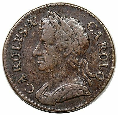 1673 Great Britain Farthing, Charles II, S-3394, VF