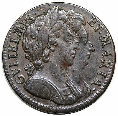 1694 Great Britain Farthing, William & Mary, S-3453, nice XF-AU