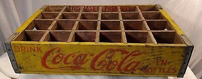 Wooden coca cola in bottles drink carrier Yellow & Red HAVE A COKE case crate