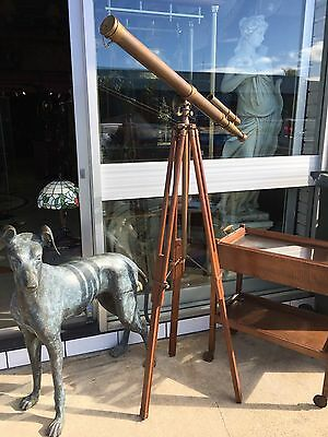 Vintage Brass Signed Telescope