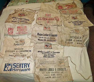 Lot Of 11 Vintage Carpenter Aprons With Advertising