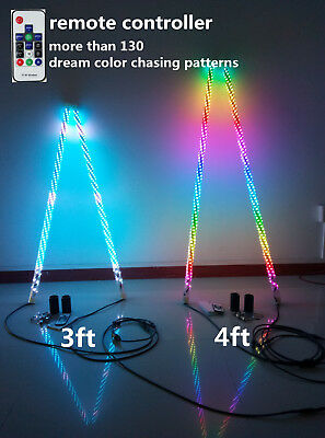 Pair of 3ft Dream Color Chasing Wrapped LED Whip Light ATV SUV 4WD Safety Flags