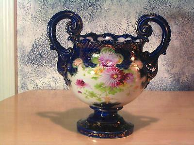 Beautiful Large Ornate Nippon Cobalt, Floral And Gold Trophy Style Vase !!