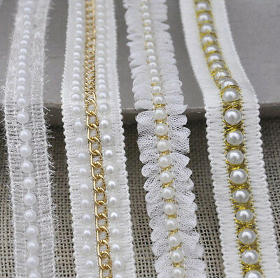 1Yard Beaded Pearl Double Edge Trim White Gold Trimming Lace Ribbon Applique