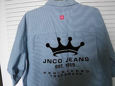 JNCO JEANS SHORT SLEEVE WORK SHIRT LARGE . Mens. BLUE. RARE. 1990s.Like new.