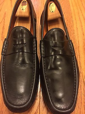 NICE Santoni Black penny loafer leather shoes 11.5 D Italy